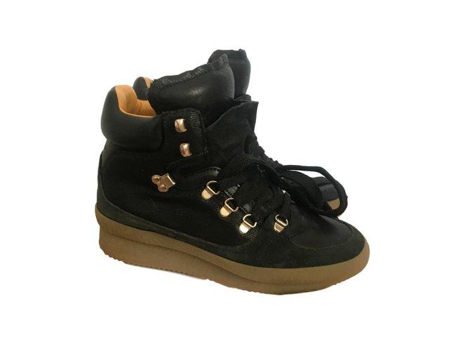 Marant Ref 61944 Isabel Noir Lacets Boots Bottines En Cuir À fAH57wWBv