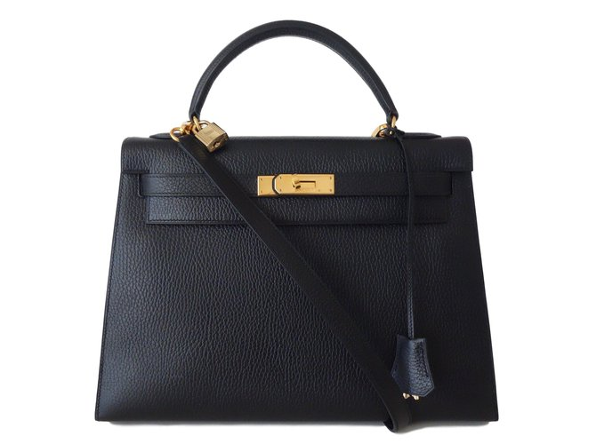 Sacs à main Hermès SAC HERMES KELLY 32 Togo Noir Cuir Noir ref.61961