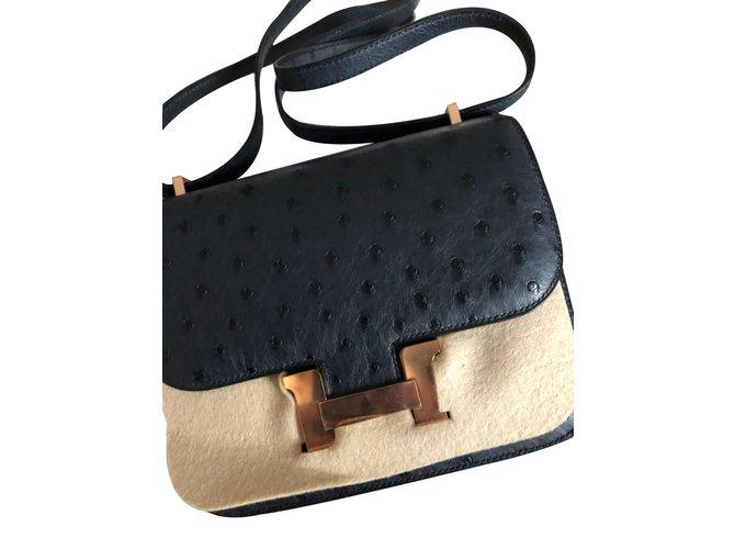 Sacs à main Hermès Constance Cuirs exotiques Bleu ref.61972