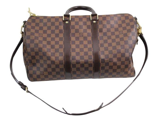 279d189d83 Louis Vuitton Keepall 45 bandouliere Travel bag Cloth Brown ref.62106