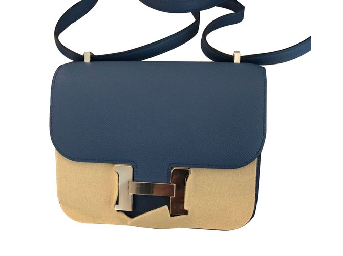 Hermès Constance Mini Handbags Leather Blue ref.62107