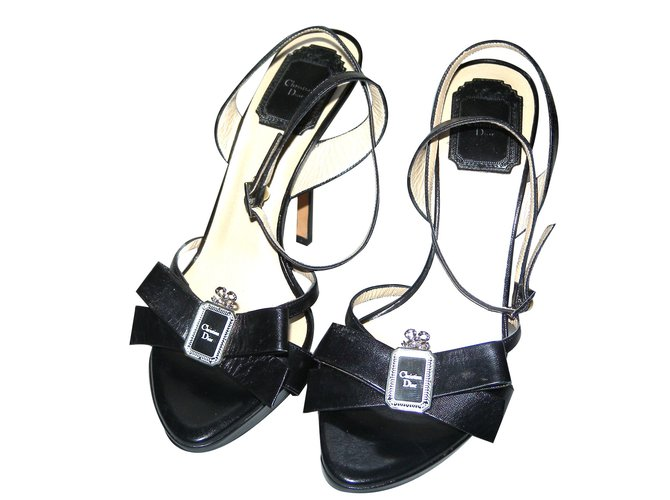 ebe91731b804 Christian Dior Sandals Sandals Leather Black ref.62187 - Joli Closet
