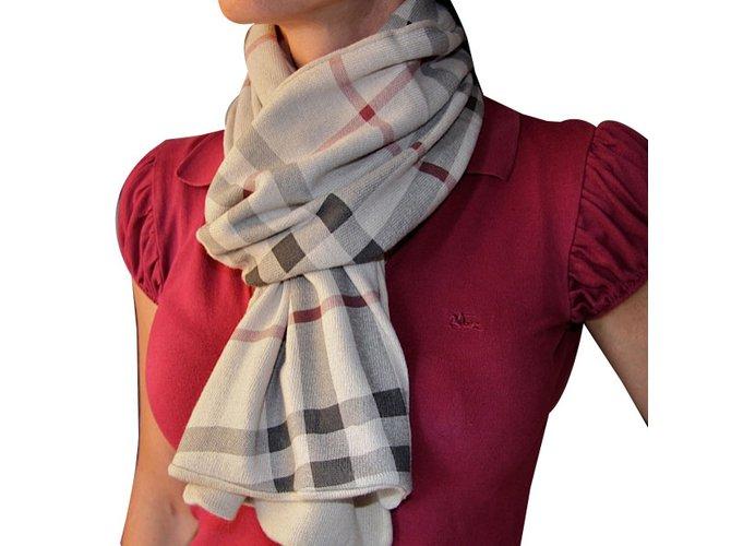 Foulards, écharpes enfants Burberry burberry scarf coton et cachemire Coton Beige ref.62240