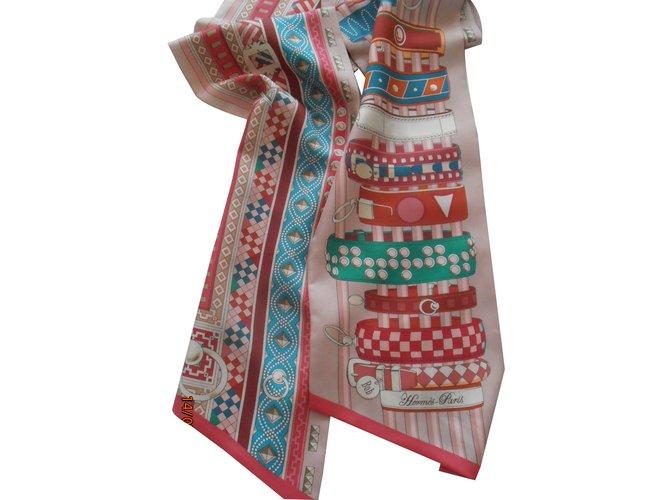 Foulards Hermès maxi twilly Soie Rose ref.62471 - Joli Closet 661547113e1