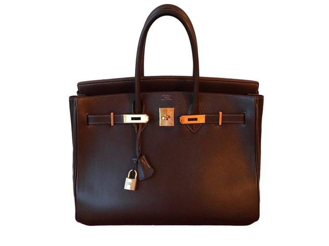 Sacs à main Hermès Birkin 35 Cuir Marron ref.62482