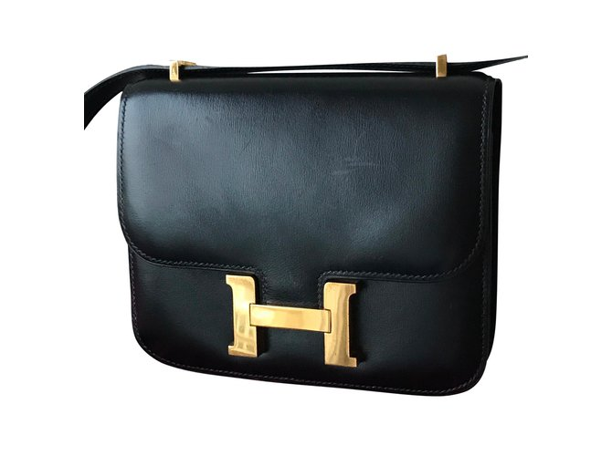 Sacs à main Hermès Constance Cuir Noir ref.62487