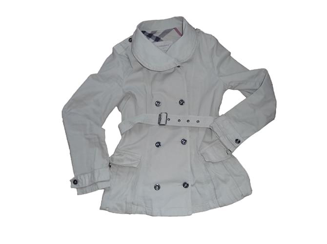 Blousons, manteaux filles Burberry Veste saharienne Coton Beige ref.62506