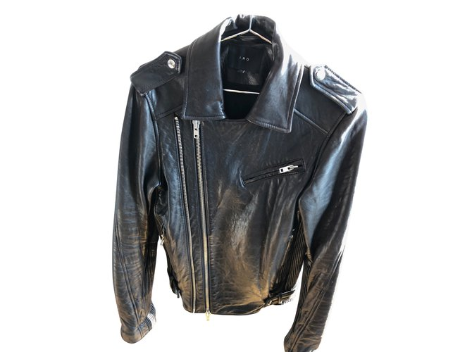 Vestes, blousons Iro Veste en cuir Homme IRO Marron, taille XS Cuir Marron  ref 3a94644fa4b