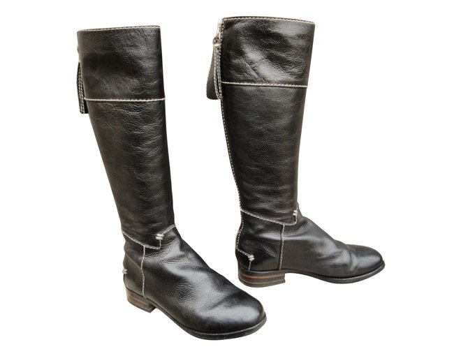 Chloé Boots Boots Leather Black ref.62646