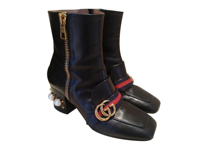 82580d83774 Gucci Boots Boots Leather Black ref.62840 - Joli Closet