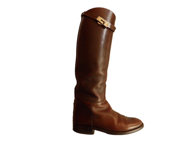 Hermès Jumping Boots Leather Dark brown ref.62875