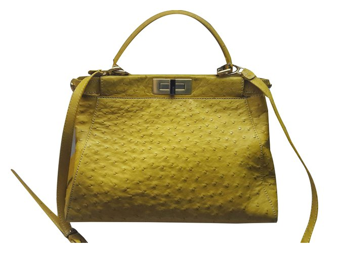 973ebdd317 Fendi Ostrich Peekaboo Handbags Exotic leather Yellow ref.62950 ...