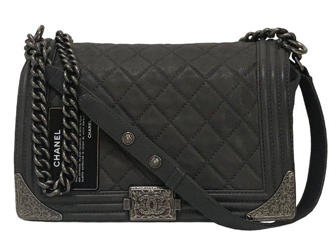 Chanel Boy Medium Bag Dallas Handbags Leather Dark Grey Ref 63290