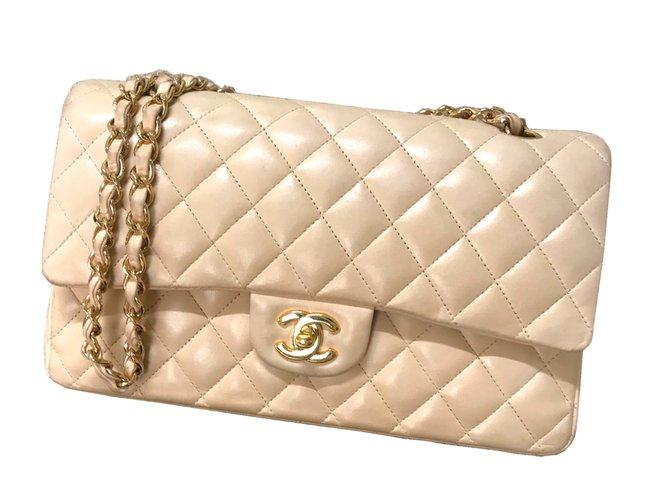 7ba9cfb95ac3cd Chanel Chanel Timeless Medium Double Flap Bag Handbags Lambskin Beige  ref.63544