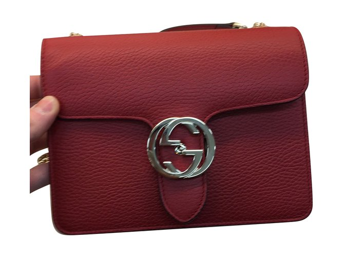 4b6e6b5f94b Gucci BAG Clutch bags Leather Dark red ref.63686 - Joli Closet