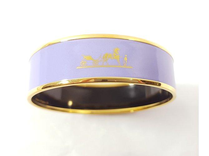 """Bracelets Hermès Hermès: Bracelet """" CALÈCHE """" en Email/ Plaqué or. Taille L Métal Autre ref.62069"""