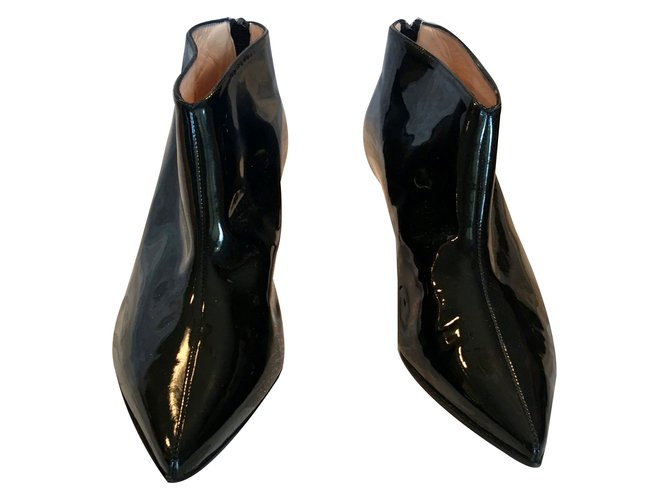 Bottines Christian Louboutin Bottines Cuir vernis Noir ref.64006