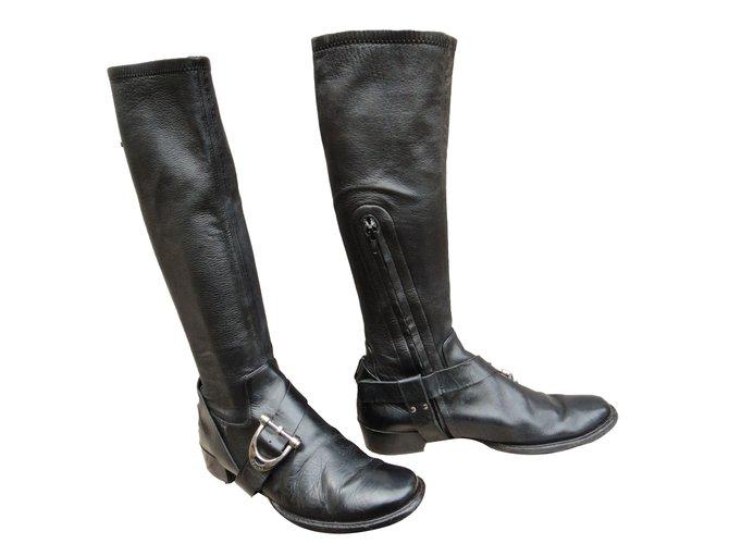 Céline Boots Boots Leather Black ref.64175