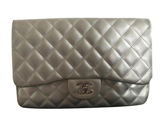 01586cdd83dd Chanel Metallic Jumbo Flap Bag Handbags Lambskin Silvery ref.64207 ...