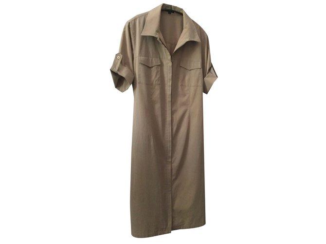 Robes Autre Marque Robe saharienne ou robe tunique ou robe chemisier Coton,elasthane  Beige ref b28fdf806298