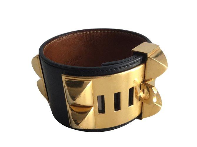 Bracelets Hermès Bracelet Collier de chien Cuir Noir ref.64428