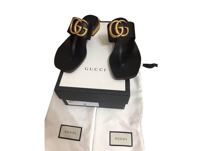 c26f02218 Gucci GG Marmont Sandals Leather Black ref.64568 - Joli Closet
