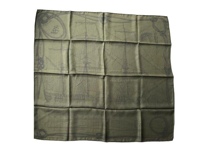 Hermès Silk scarves Silk scarves Silk Khaki ref.64622