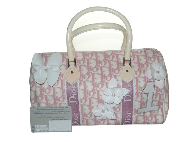 Dior Handbags Patent Leather Cloth Pink White Ref 64651