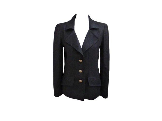 Chanel Jackets Jackets Cashmere,Wool Grey ref.64654