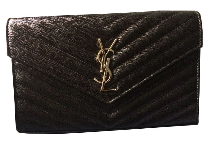 b74dd456280c3 Yves Saint Laurent Clutch bags Clutch bags Leather Black ref.64718 ...