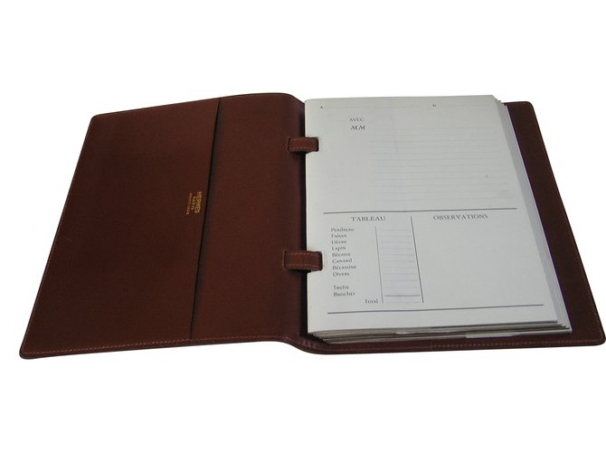 """Hermès book of the house Hermès """"hunting and fishing"""" Wallets Small accessories Leather Cognac ref.64723"""