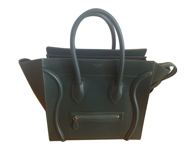 613742dff104 Céline Luggage Mini Handbags Pony-style calfskin Green ref.64753 ...