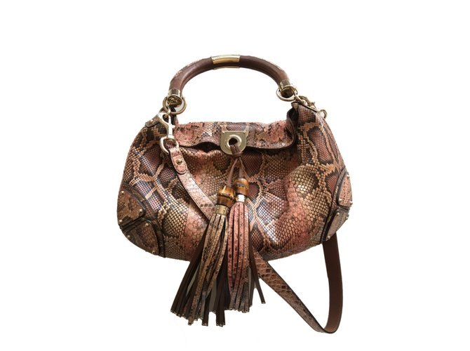 a7a0039e5fd Gucci GUCCI Python Indy Babouska Top Handle Bag Handbags Python  Brown