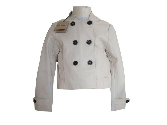 Blousons, manteaux filles Burberry sublime petite veste fille garçon 4 ans neuve BURBERRY Cuir Beige ref.64851