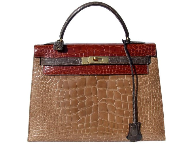 Sacs à main Hermès Sac à main Hermès Vintage Kelly Sellier Tricolor Alligator Ghw 32 cm Cuirs exotiques Multicolore ref.65017