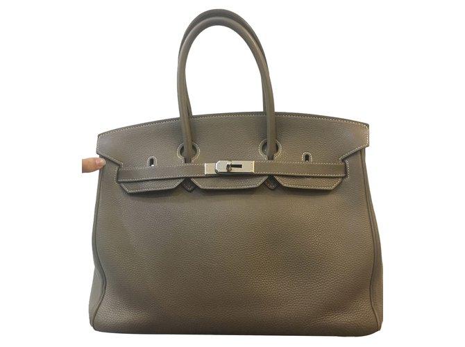 Sacs à main Hermès Birkin 35 Etoupe Cuir Beige ref.65115