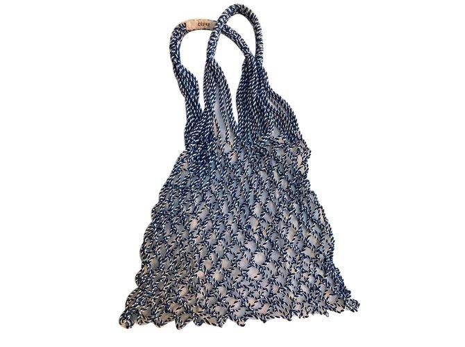 04674931bd Céline Celine cotton net bag Handbags Cotton Blue ref.65191 - Joli ...