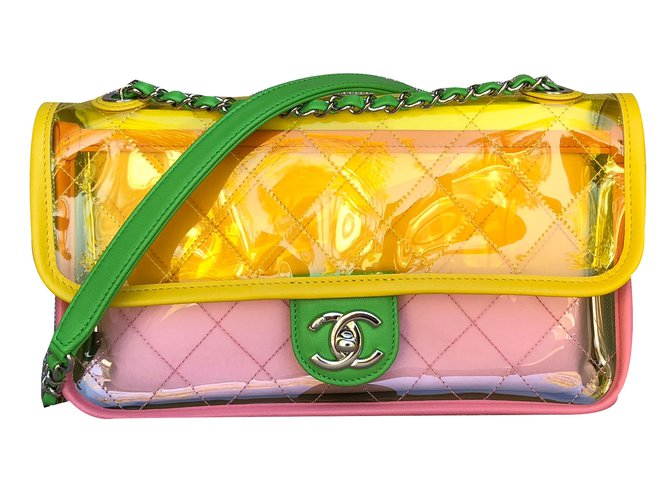 9b2ee8203c6b Chanel, Runway Quilted Single Flap Shiny Silver Chain Green/Yellow/Pink Pvc/Lambskin  Bag