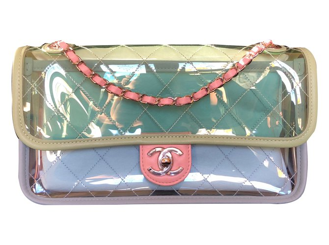 9f8cc4f1572672 Chanel, Runway Quilted Single Flap with Silver Chain Green/Blue/Pink PVC/Lambskin  Bag