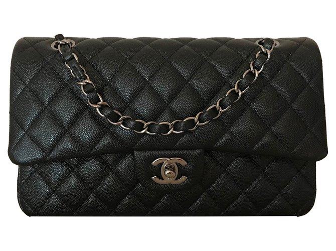 f6d85d322f2d Chanel Classic Medium Flap Black Iridescent Caviar Leather with Shiny Grey  Chain Handbags Leather Black ref