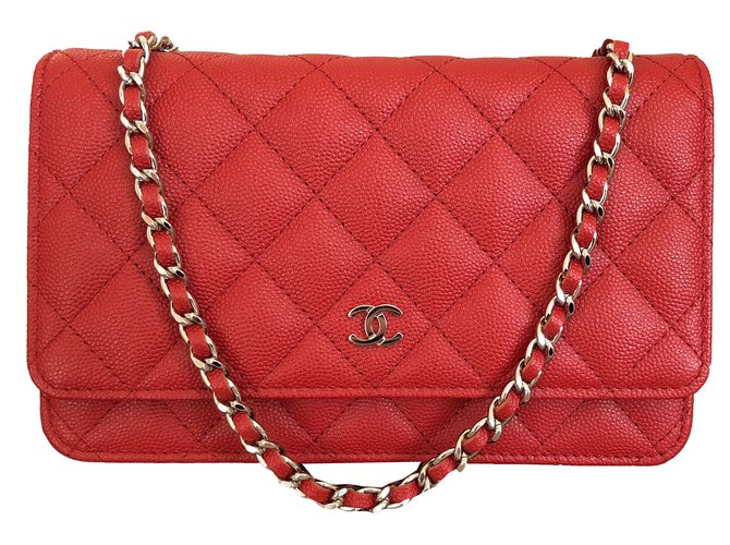 b8a6a27d670a Chanel Wallet on Chain Red Caviar Leather with Shiny Silver Chain Handbags  Leather Red ref.