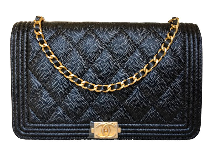 Chanel Black Caviar Boy Wallet on Chain with Brushed Gold Chain Handbags  Leather Black ref. 03c5b2a7b