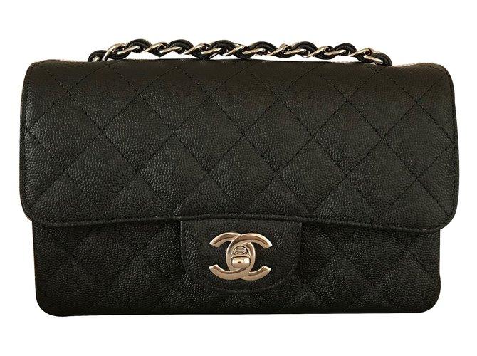 ac45dfdd5276 Chanel mini Single flap with Shiny Silver chain Handbags Leather Black  ref.65214