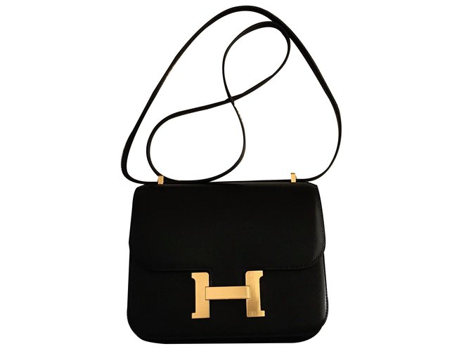 Hermès Constance 18cm Black Evercalf leather with Gold Hardware Handbags Leather Black ref.65220