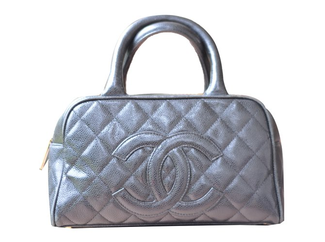 Chanel Vintage Bowling Bag Handbags Leather Black Ref 65221