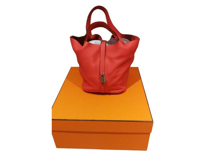 4dfa044d4014 Hermès Picotin 26 Handbags Leather Coral ref.65387 - Joli Closet
