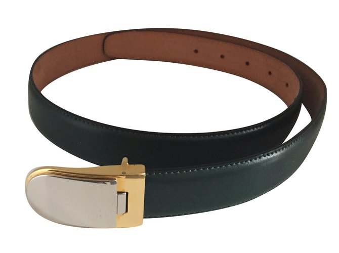 Autre Marque Belts Belts Leather,Metal Green ref.65406
