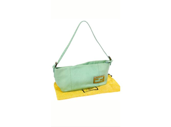 dff51d1ab559 Fendi fendi green python leather baguette Handbags Python Green ref.65437