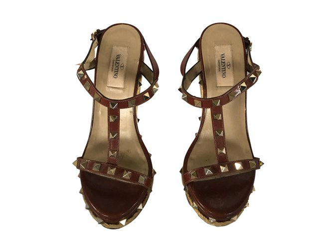42df132b38f Valentino Rockstud Sandals Sandals Leather