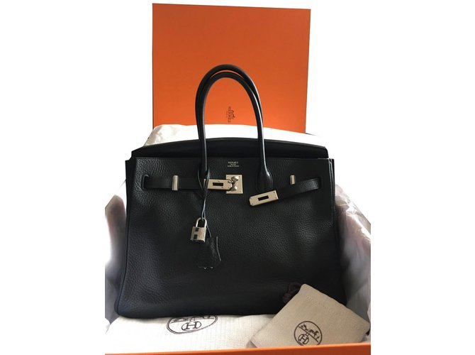 651355042a Sacs à main Hermès Birkin 35 noir Cuir Noir ref.65731 - Joli Closet